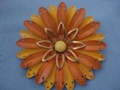 American 1960's Flower Brooch in Yellow tones with Gold (SOLD)